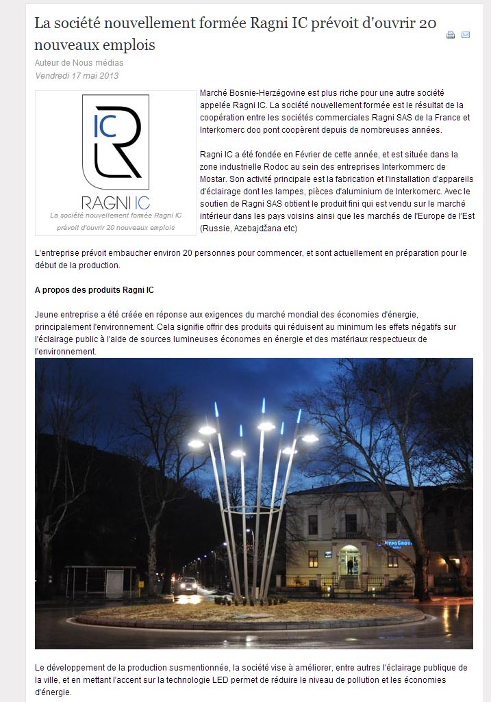 Publication média Ragni-Ic en Bosnie Herzégovine